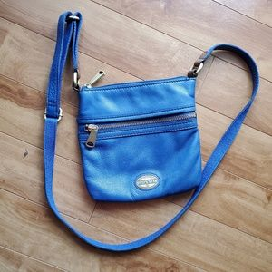 Blue Leather Fossil Crossbody Bag